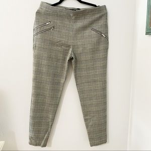Zara gingham style pants with zippers